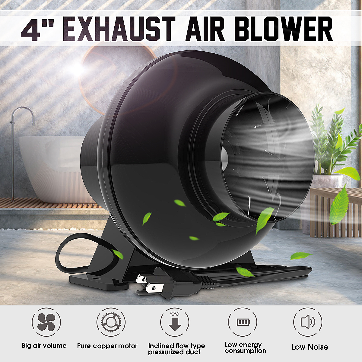 4 Inch Exhaust Fan 220V Inline Duct Extractor Air Booster Fan Ventilation Exhaust Air Blower Wall Ventilator Fan Home Kitchen
