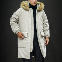 2019 winter new long cotton coat mens youth fashion personality handsome hooded fur collar loose tide