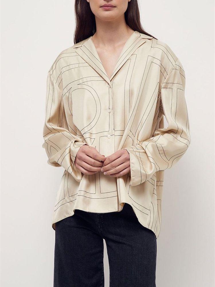 Totem* 100% silk logo embroidery nighty shirt Trench  - AliExpress
