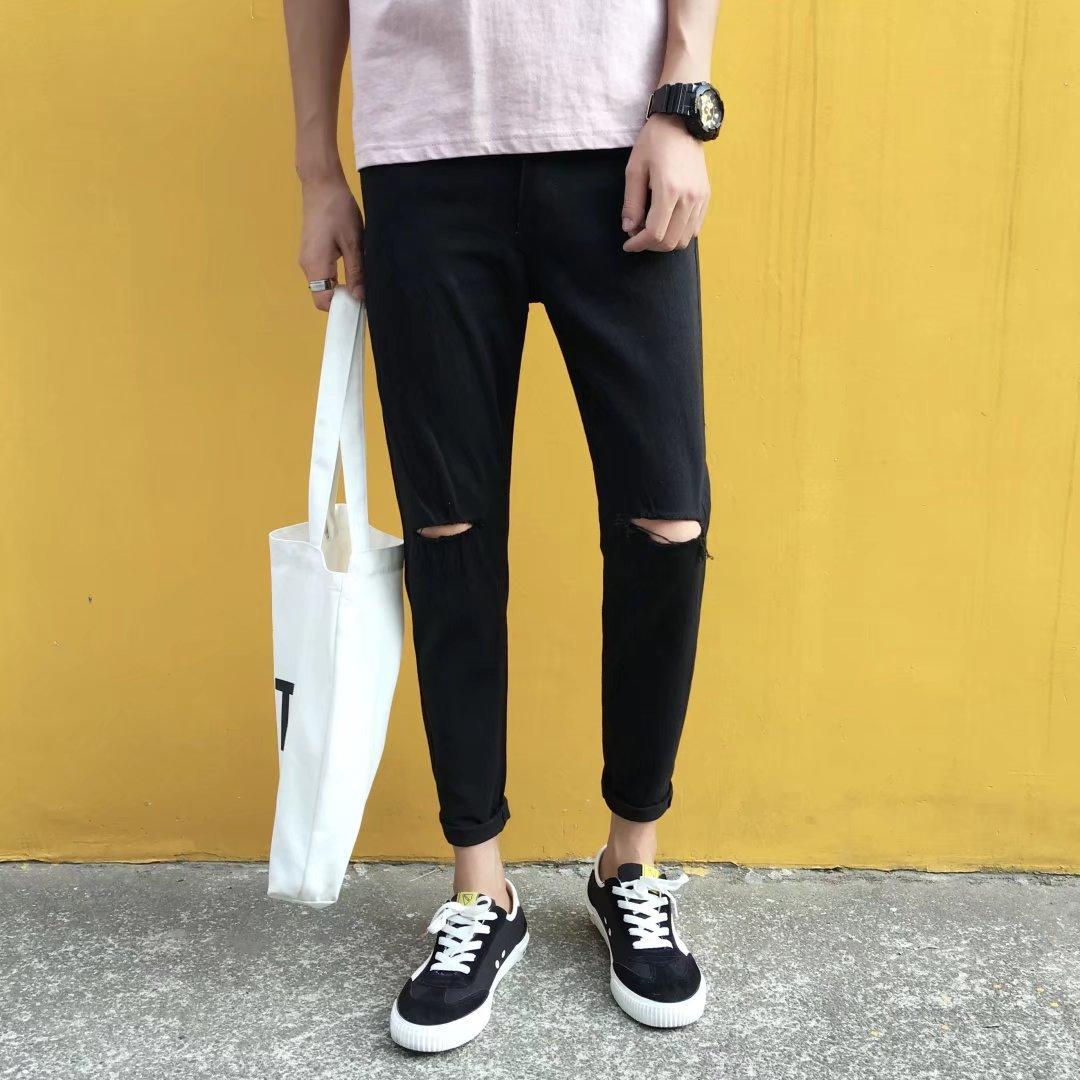 Jeans Men's With Holes Jeans Men Black Word Broken MEN'S Jeans Couples Skinny Korean-style Jeans