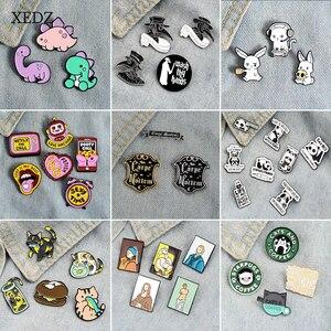 XEDZ słynny obraz/otwieracz butelek/królik/dinozaur/tekst słodki kociak świnia pies zwierząt emalia zestaw przypinek kolekcja metalowa plakietka Punk ubrania