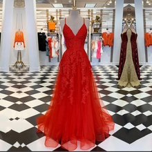 Red Evening Dress Spaghetti Strap V-Neck Appliques Lace Beaded Sexy Prom Gown Party Dress for Graduation dress women elegant sexy spaghetti strap printed chiffon dress for women