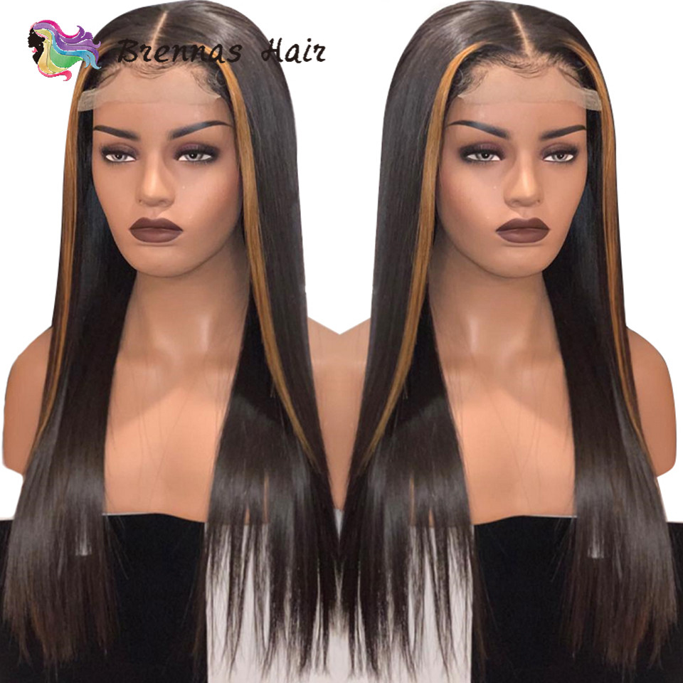 Ombre Straight Lace Front Wig #27 Honey Blonde Highlight Human Hair Lace Wig Natural Color Brazilian Remy Hair Wig  For Women
