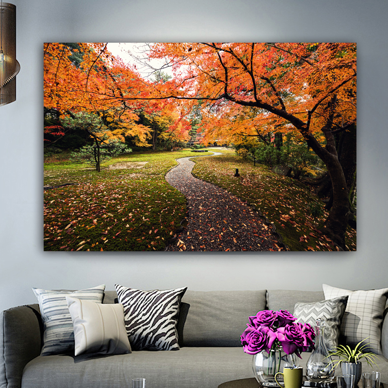Autumn Forest Path Landscape Silk Poster 12x18 24x36 inch Fallen Leaves Trees