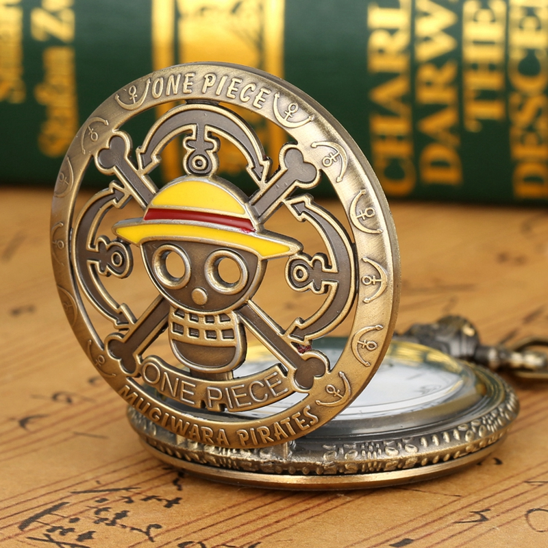 2020 Hot Selling Men's Japan Cartoon Anime One Piece Pocket Watch Fashion Men Women Necklace Chain Vintage FOB Steampunk Pendant