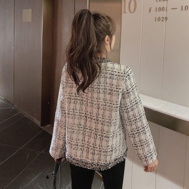 Retro short small Fragrance Jacket Women 2021 Autumn New Korean fashion French jacket Women loose tweed temperament top Female 4