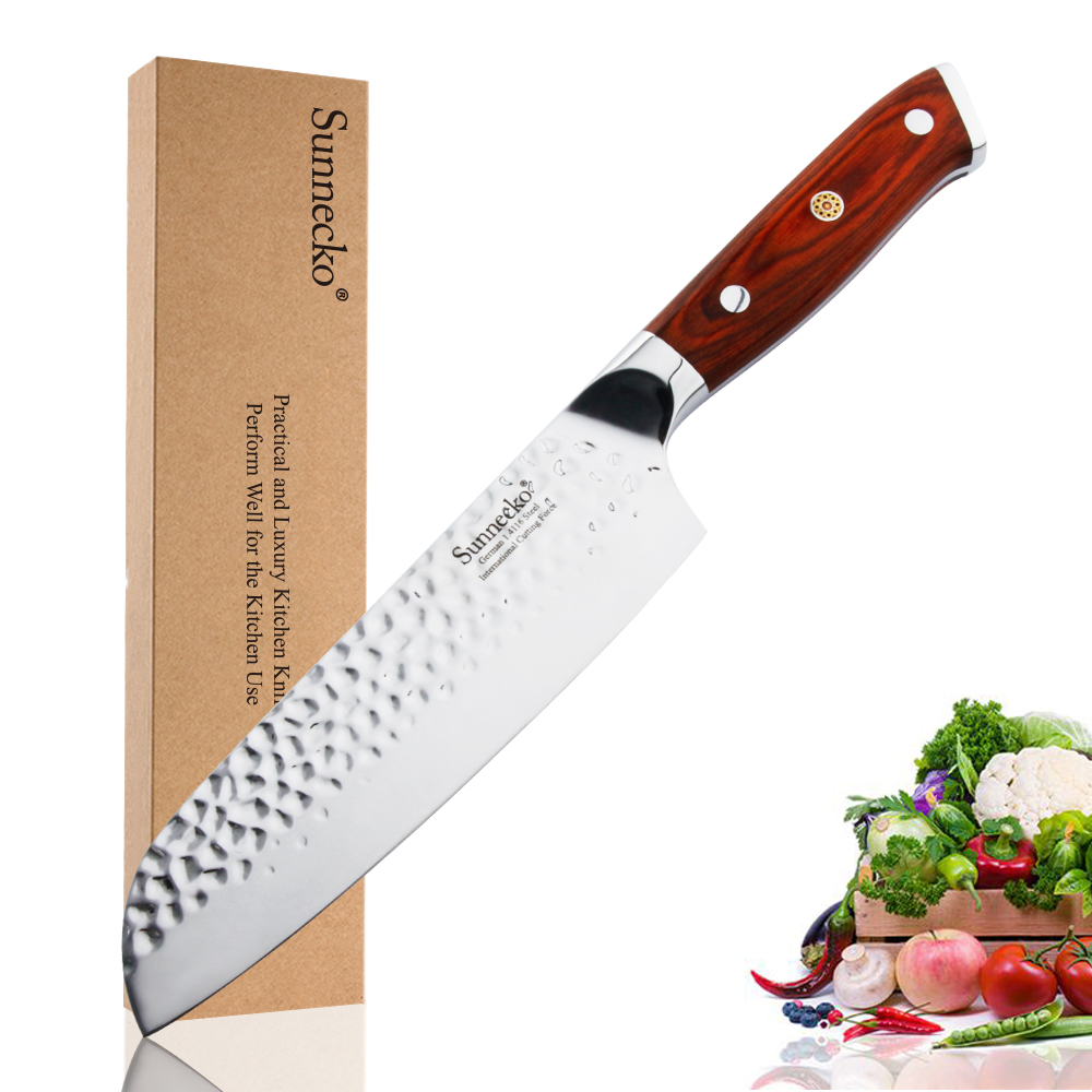 "Sunnecko 7"" Santoku Knife German 1.4116 Steel Meat Vegetable Slicing Cooking Knife Forged Blade Razor Sharp Kitchen Knives