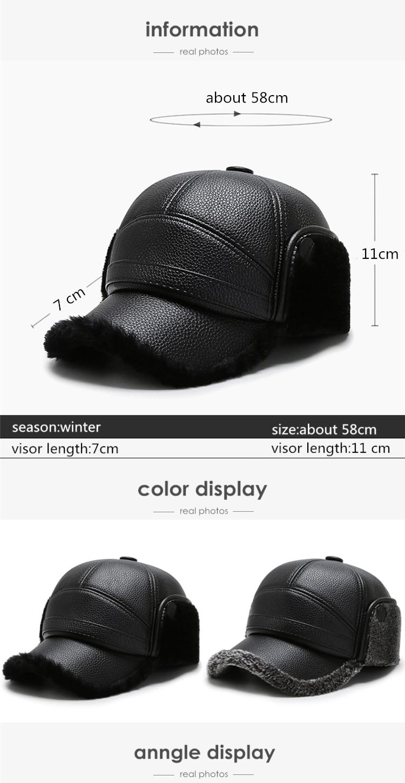 casquette noir Pu cuir pour hommes