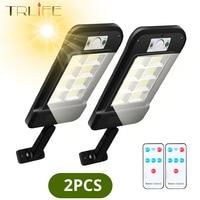 Farola Solar impermeable para exteriores, lámpara de pared con Sensor de movimiento PIR, lámpara de Control remoto inteligente, paquete de 1/2 Uds., 158COB