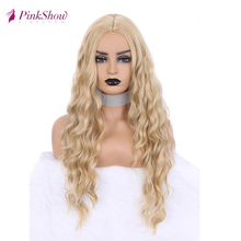 Pinkshow Blonde Wig Long Synthetic Wigs For Women Deep Wave Natural Hairline Daily Wig