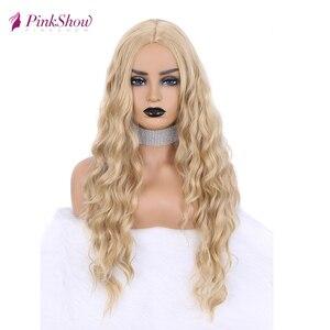 Image 1 - Парик блонд Pinkshow, Длинные Синтетические парики для женщин, глубокая волна, натуральный волос, повседневный парик