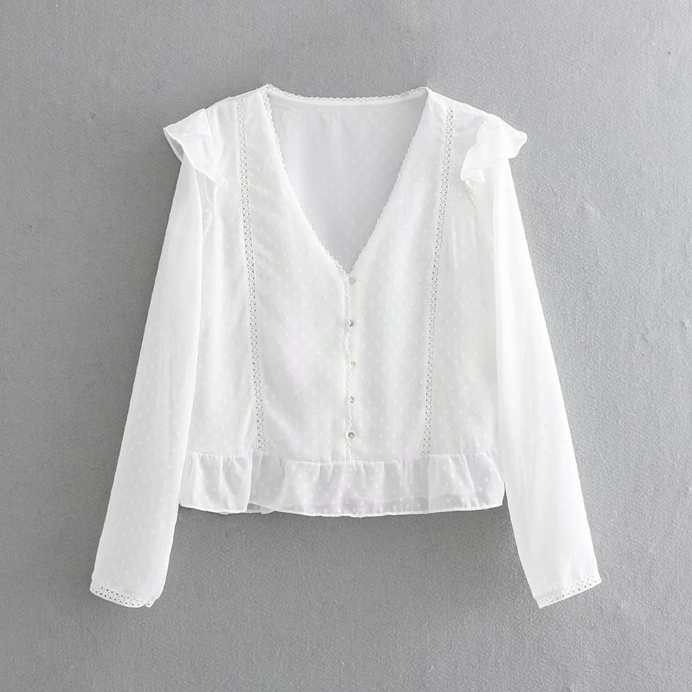 women sweet v neck lace patchwork chiffon shirt blouse ladies pleated ruffles femininas blusas chic buttons chemise tops LS3217