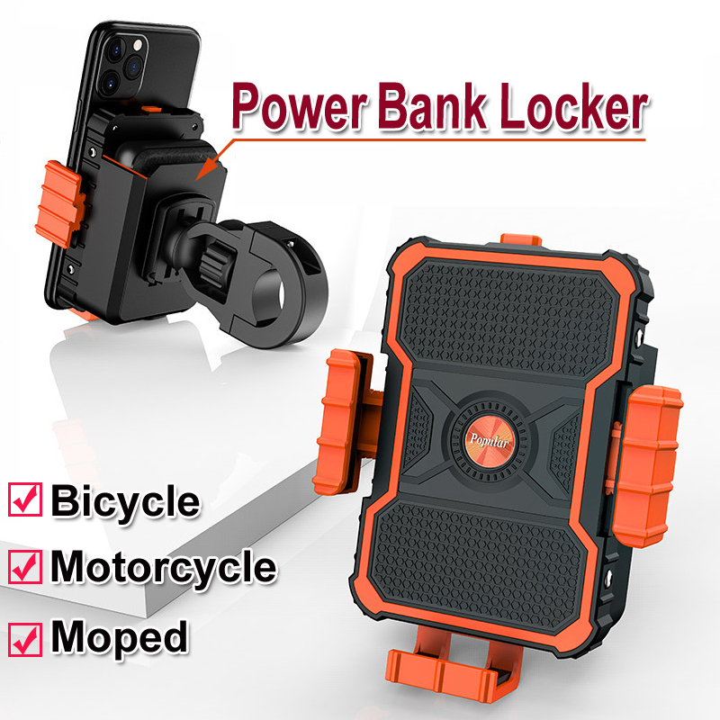 New Motorcycle Bicycle Phone Holder Navigation Bracket Motor Bike Moped Mount Clip With Power Bank Locker Charging For Mobile