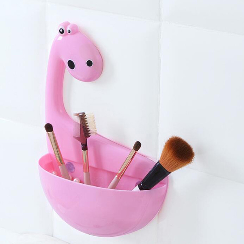 Lovely Dinosaur Sucker Toothpaste Rack Toothbrush Holder Bathroom Storage Products Cute Practical Drain Rack image