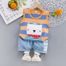 2017 new summer baby clothing set cotton cute pattern vest new summer fashion boy gril striped vest+shorts set toddler baby suits cotton cartoon clothing 2 Pcs baby casual daily suits