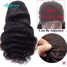 6x6 Lace Closure Wigs Brazilian Body Wave Closure Wig Remy Human Hair Lace Wigs Natural Hairline High Ratio(China)