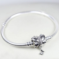 New 925 Sterling Silver Bracelet Moments Decorative Butterfly Clasp Snake Chain Bracelet Bangle Fit Bead Charm Europe Jewelry