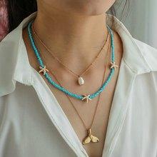 Estilo playa gargantilla perla cadena varias capas Collar de estrella de mar colgante de cola de pez Collar declaración Collar mujeres INS joyería étnica CN104