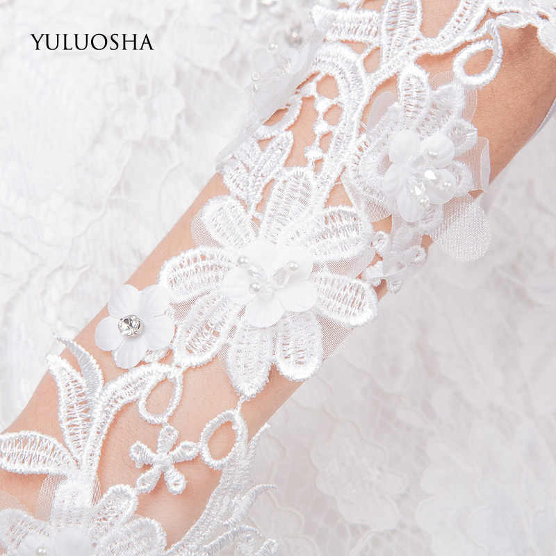 YULUOSHA ถุงมืองานแต่งงานสำหรับเจ้าสาวผู้ใหญ่ Fingerless ลูกปัดดอกไม้สีขาวลูกไม้ถุงมือถุงมือเจ้าสาวดอกไม้สีขาวสาวถุงมือ