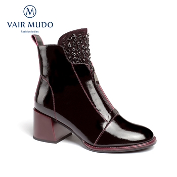 VAIR MUDO Autumn Winter Women Ankle Boot Thick Heel Patent Leather Black Temperament Shoes  Ladies High Quality Boots  DX125 women autumn winter fashion pu ankle martin flat boots waterproof lace shoes patent leather block thick high heel