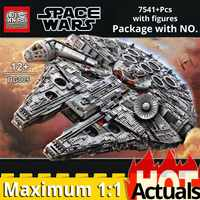 05132 Ultimate Collector Series 7541PCS Max millenniumlys Falcon spaceship Building Blocks Brick legoinglys 2017 Star Wars 75192