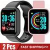 2Pcs Y68 Smart Watch Men Women Digital Watches Bluetooth Sport FitnessTracker Pedometer D20 Smartwatch for Android Ios Xiaomi