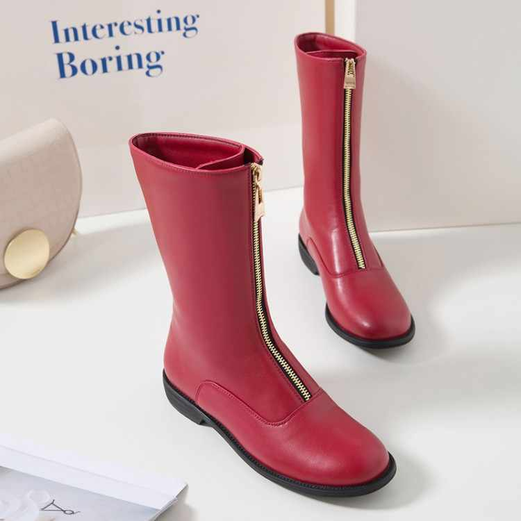 كبيرة الحجم 9 10 11-15 أحذية حريمي برقبة حذاء من الجلد للنساء السيدات الأحذية الأحذية امرأة الشتاء الجبهة سستة جولة رئيس كعب مسطح