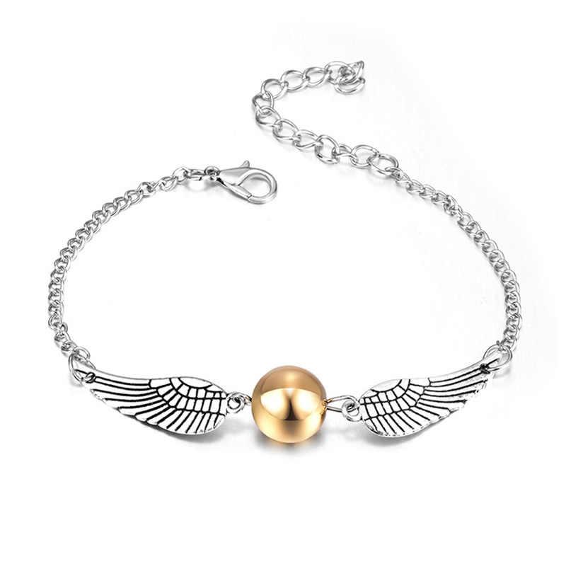 Harry bijoux or Snitch signet collier Bracelet porte-clés populaire Style Vintage Sweety Angle ailes boucles d'oreilles pour femmes enfant