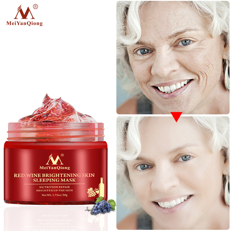 50g Red Wine Facial Sleeping Mask Moisturizing Anti-aging Repairing Concentrated Aloe Vera Acne Gel Cream Face Skin Care Product For Fast Shipping