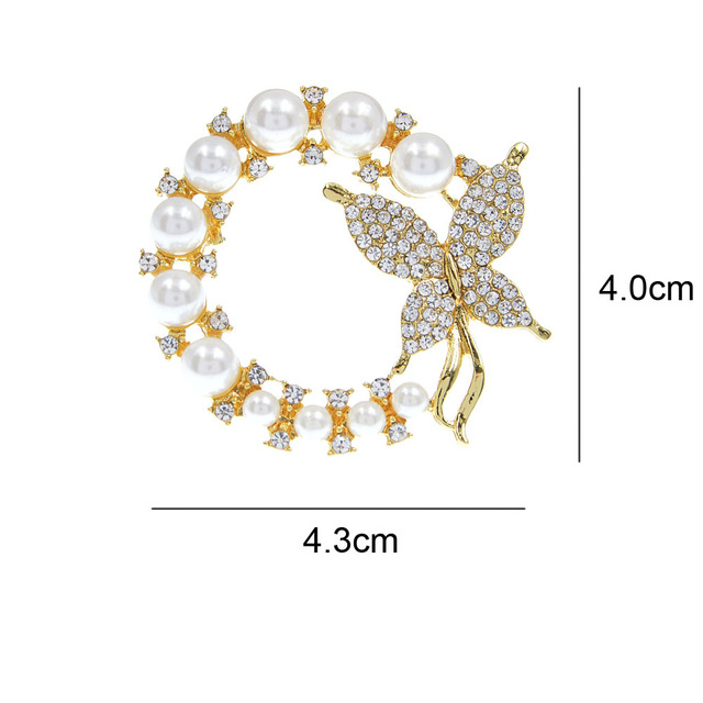 CINDY XIANG New Pearl and Rhinestone Circle Brooches for Women Baroque Trendy Elegant Butterfly Brooch Pins Party Wedding Gifts 2