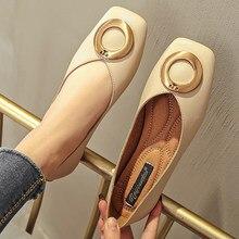 Sapatos femininos sapatos de balé deslizamento em mocassins marca de couro apartamentos decoração metal bailarina zapatos mujer tamanho 42/44