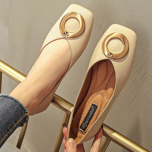 Women Flat Shoes Ballet Shoes Slip On Loafers Moccasins Brand Leather Flats Metal Decoration Ballerina Zapatos Mujer Size 42/44