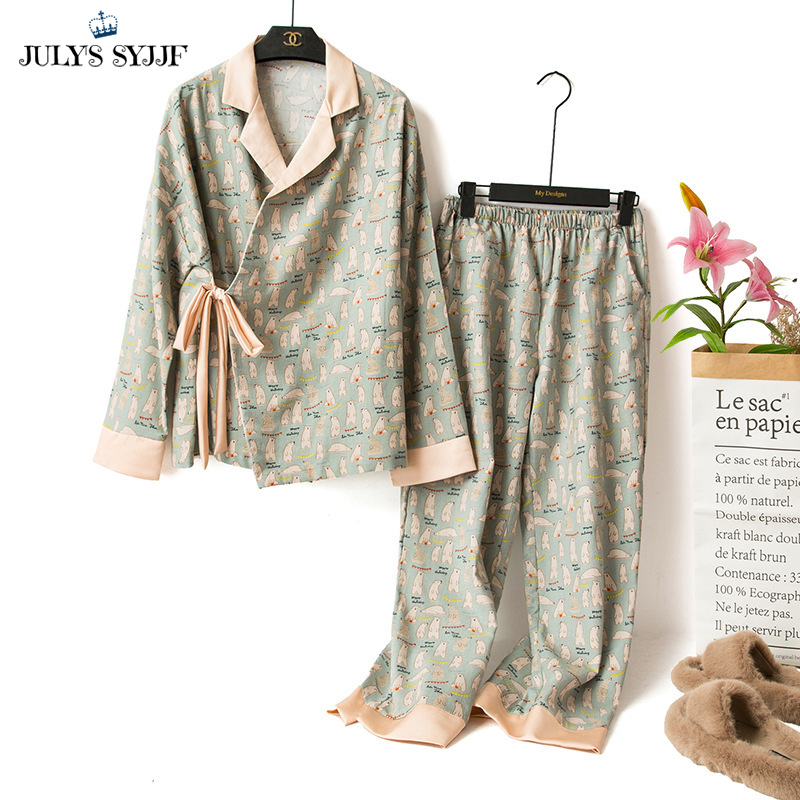 JULY'S SYJJF Cute Bear Pajamas Set 2 Pieces Women Cartoon Kimono Printing Spring Autumn Trousers Sleepwear Pajamas Homewear