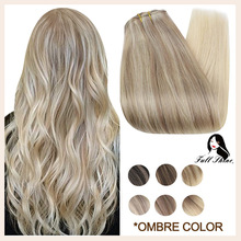Full Shine Clip in Remy Hair Extensions Double Wefted Extension Blonde Highlight Ombre 100% Remy Human Hair Extensions Full Head