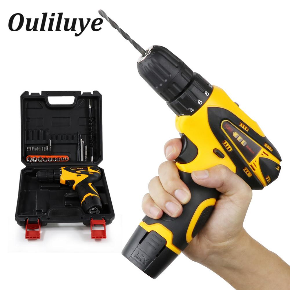 Rechargeable Lithium Battery Cordless Electric Drill Bit 12V Mini Professional Cordless Electric Screwdriver Hand Drill