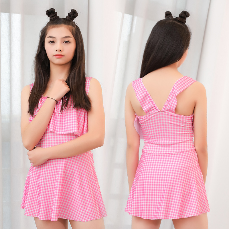 2019 New Style GIRL'S Swimsuit 65-90 Jin Big Kid One-piece Plaid Sweet Girl Swimming Suit Nt526803