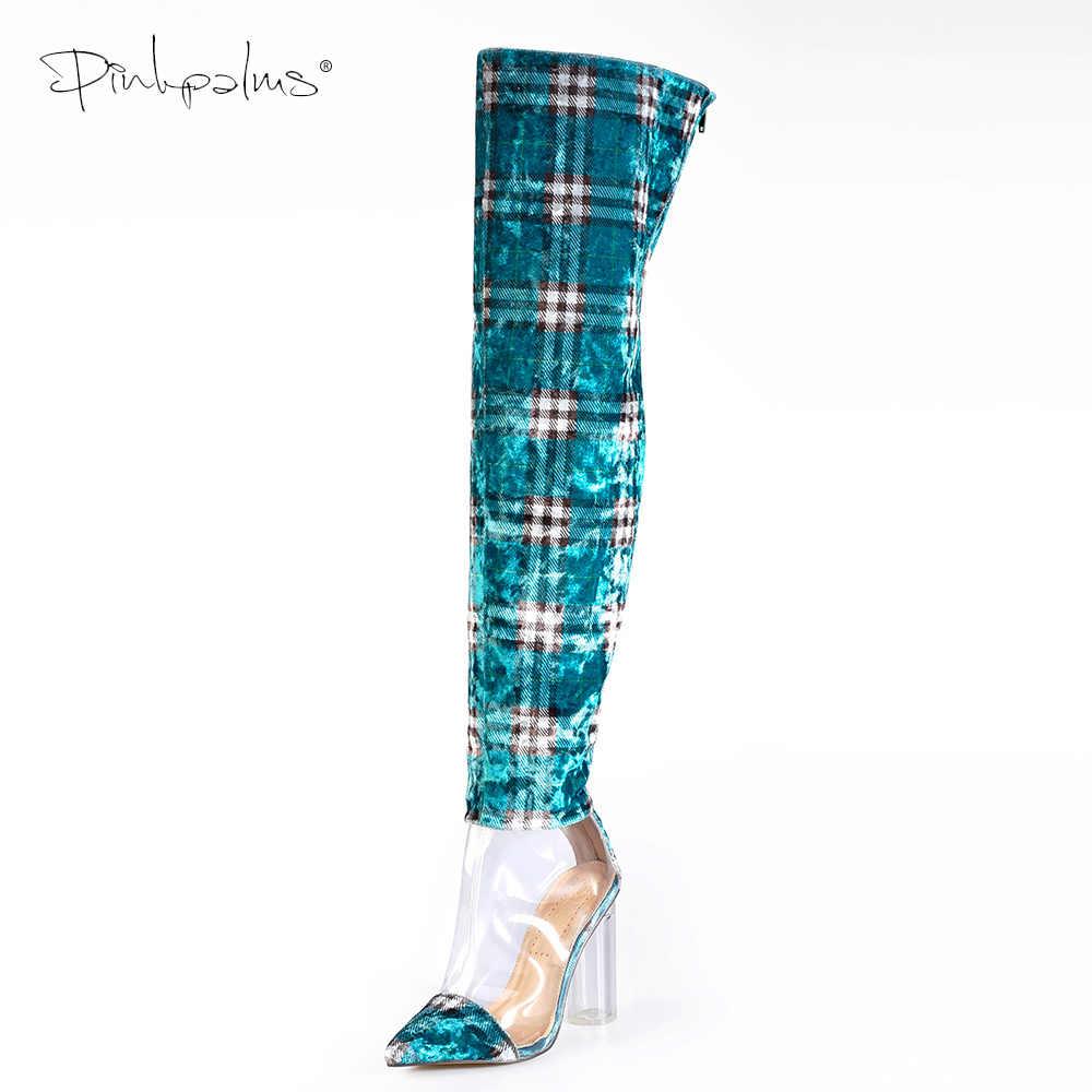 Pinkpalms Giày Nữ Gợi Cảm Nhựa PVC Trong Suốt Và Bông Kẻ Nhung Giày Tròn Trong Suốt Gót Nữ Đùi Giày Cao Trên Đầu Gối khởi Động