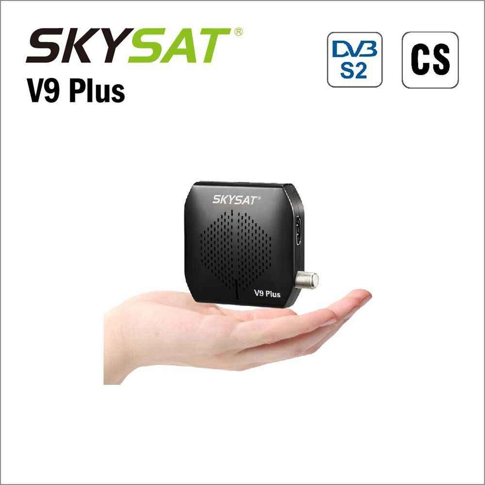 Skysat v9 plus super mini DVB-S2 receptor suporte liso cccamd newcamd powervu biss wifi 3g usb pvr cs conjunto caixa superior