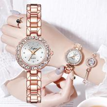 Luxury Crystal Bracelet Watches Set Womens Diamond Steel Belt Quartz Rose Gold Women Clock Lady Gift Bangle