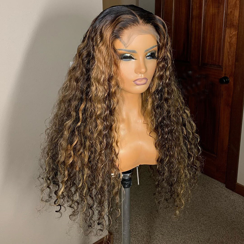 Human-Hair-Wigs Lace Wigs Curly Brown Bleached Knots Lace-Front Pre-Plucked Color Ombre