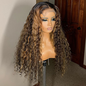 Ombre Brown Color Curly 13x6 Lace Front Human Hair Wigs With Baby Hair Pre Plucked Remy Brazilian Lace Wigs Bleached Knots(China)