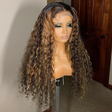 Ombre Brown Color Curly 13x6 Lace Front Human Hair Wigs With
