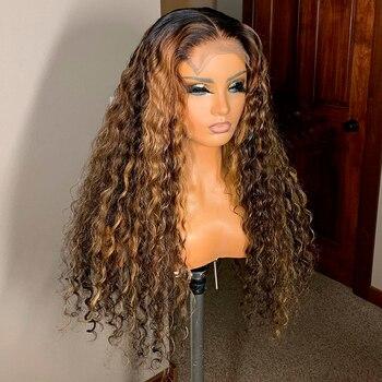 Ombre brązowy kolor kręcone 13x6 koronki przodu włosów ludzkich peruki z dziecięcymi włosami wstępnie oskubane Remy brazylijskie peruki typu Lace bielone węzłów