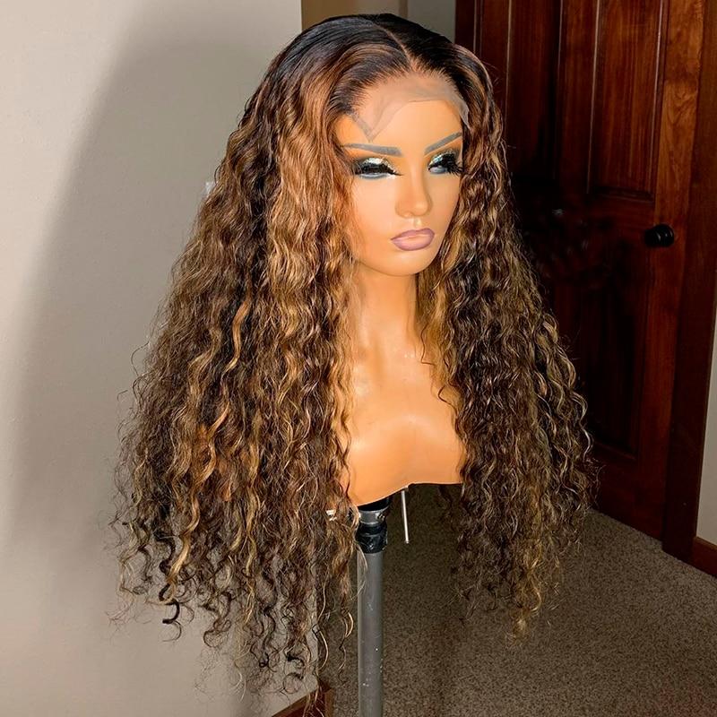 Ombre brun couleur bouclée 13x6 dentelle avant perruques de cheveux humains avec des cheveux de bébé pré plumé Remy brésilien dentelle perruques noeuds blanchis