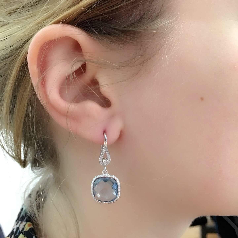 925 Sterling Silver 11.00 Ctw Simulated Aquamarine Cushion Dangle Earrings