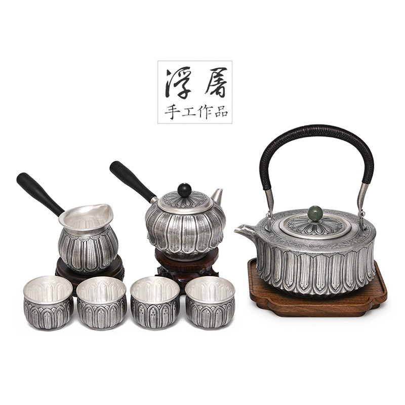 Tea Set 999 Silver Kung Fu Tea Set A Piece Of Handmade Embossed Tea Set Collection Gift Gift Box