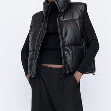 TRAF femmes 2021 mode cuir coton recadrée rembourré gilet Vintage sans manches vêtements de dessus pour femmes Streetwear
