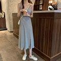 Женское платье с V-образным вырезом, повседневное длинное однотонное платье с разрезом, в корейском французском стиле, лето 2021