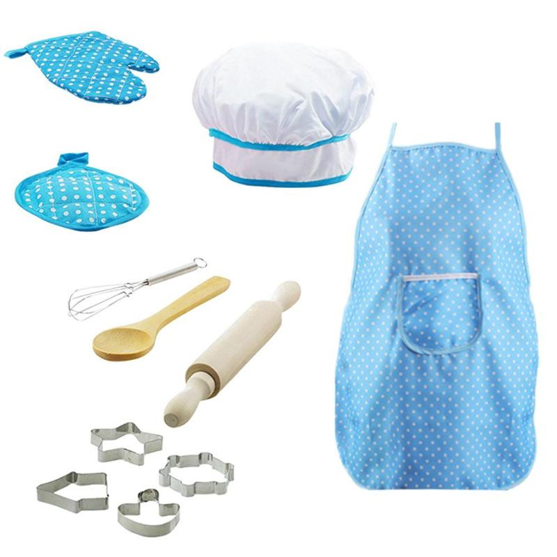 11 Pcs Chef Role Play Set With Dress Up Costume And Kitchen Accessories Kids Pretend Play Toy Set Cookies Toys Good Gift For Kid