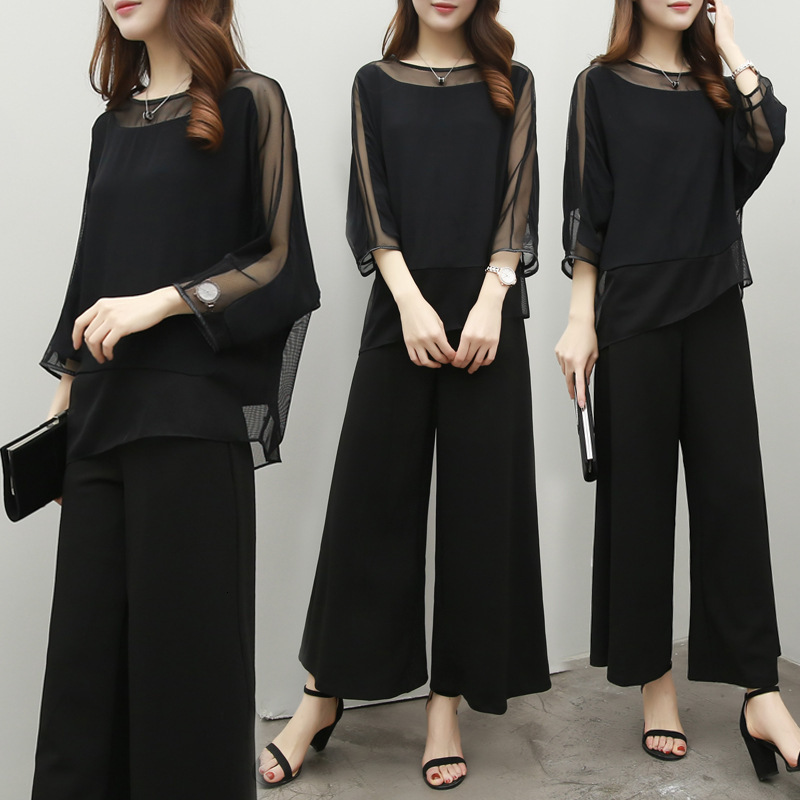 Wide Leg Pant Suits For Mother Of Bride Solid Black Color Chiffon Pantsuits Elegant Formal Wedding Office Ladies Spring Summer